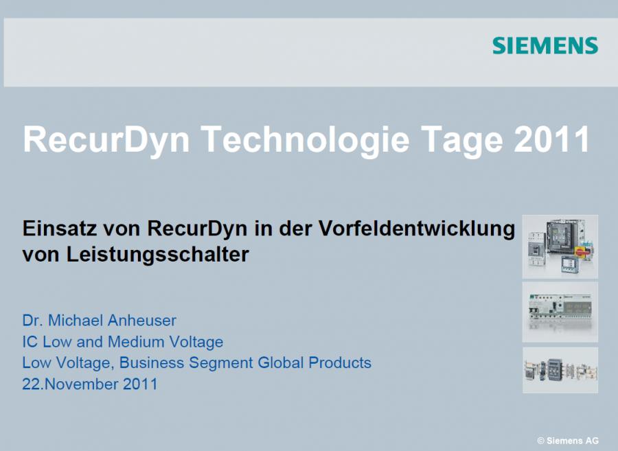 RecurDyn in der Vorfeldentwicklung von Leistungsschalter