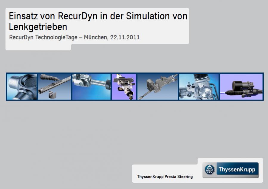 Einsatz von RecurDyn in der Simulation von Lenkgetrieben